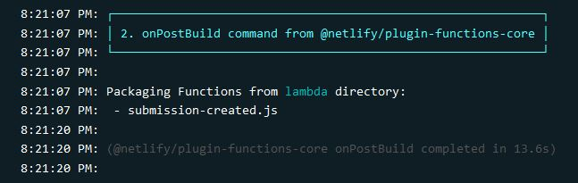 Showing that Netlify located and packaged our new function